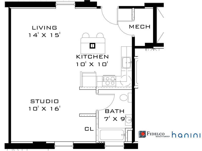 FLOOR PLANS. Sample Floorplan Gallery. The Bowers, Studio Apartment  Floorplan