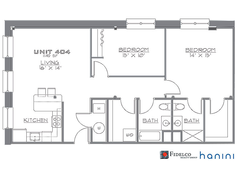 The Madison, Sample 2 Bedroom Apartment Floorplan